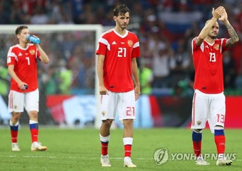 크로아티아전 패배 이후 러시아 선수들