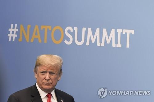 나토정상회의 참석한 트럼프 대통령 [EPA=연합뉴스 자료사진]