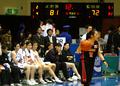 아테네 올림픽 예선 한국-일본 : 일본팀 바라보는 한국 벤치
