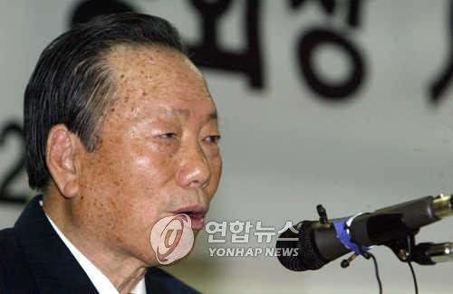 기자회견하는 정태수 전 회장