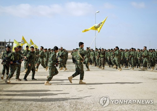 시리아 북부 하사케에서 훈련 중인 SDF 국경수비부대