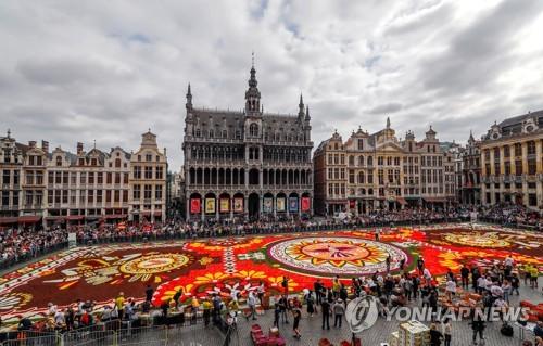 벨기에 브뤼셀 그랑플라스서 '플라워카펫' 꽃 축제 개막
