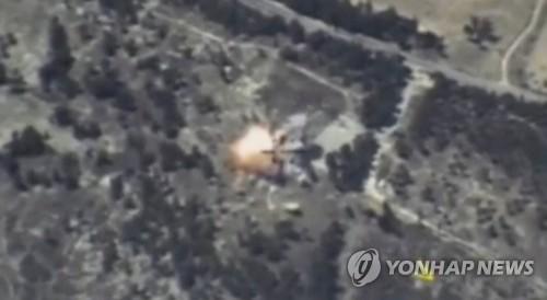러시아 국방부가 공개한 시리아 이들립 공습 이미지