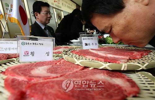 한-일 쇠고기 맛 대결 [연합뉴스 자료사진]