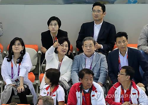 2012년 런던올림픽 참관하는 삼성 오너 일가