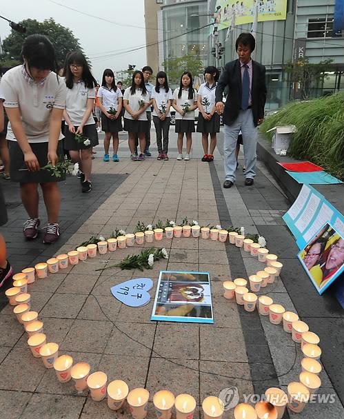 <아시아나기 사고/> 화계중 학생들, 숨진 중국인 여고생 추모