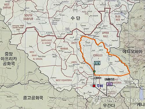 남수단 한빛부대 인근지역 지도