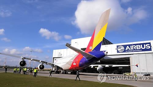 韩亚航空首架a380客机完成喷漆