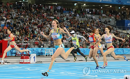 Winner of women's 200m final