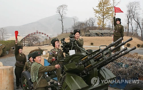 북한이 발사한 고사포로 추정되는 무기