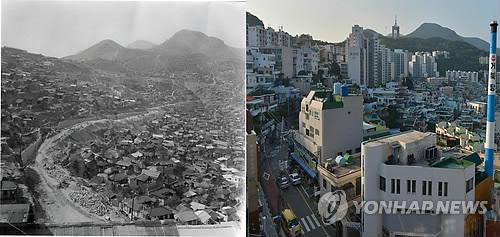 50년 전(사진 왼쪽)와 지금의 산복도로. 골목 구석구석 옛 모습이 많이 남아 있다.