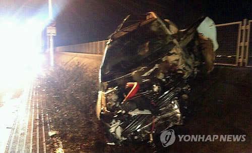 2015년 인천 영종도 남측 해안도로에서 발생한 교통사고 [연합뉴스 자료 사진]