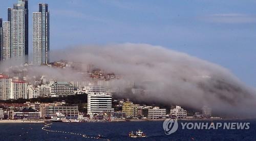 해운대 달맞이 언덕 '해무'[연합뉴스 자료사진]