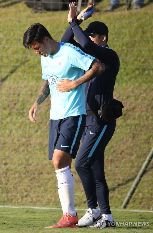 Football striker suffers injury
