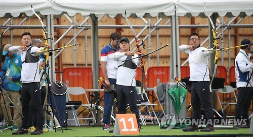 S. Korean male archers in training