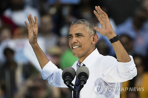 13일 美펜실베이니아주 필라델피아 유세장의 버락 오바마 대통령