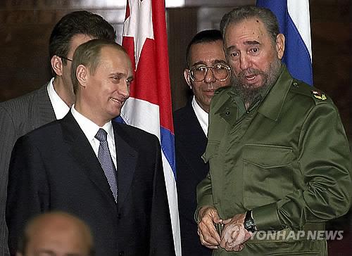 26일 타계한 피델 카스트로를 만난 러시아 블라디미르 푸틴 대통령 [AP=연합뉴스]
