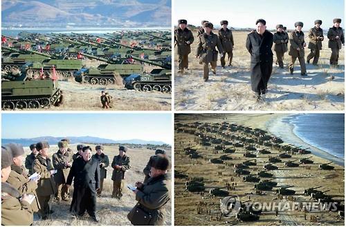 北김정은, 포사격훈련 지도