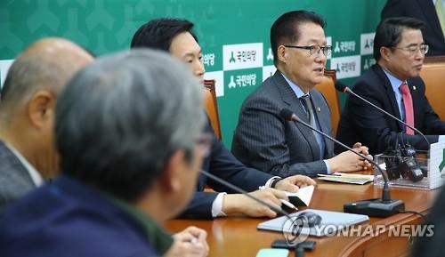 탄핵 추진 상황 설명하는 박지원