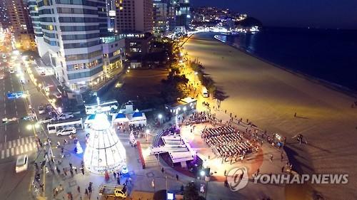 겨울 바다와 해운대 빛축제