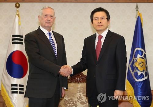韩代总统接见美防长
