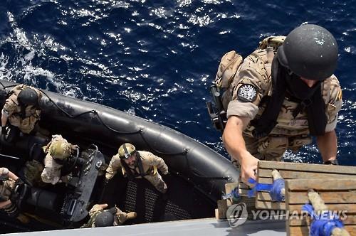 Un exercice militaire anti-piraterie, l&apos;Opération Atalanta, mené par l&apos;Union européenne s&apos;est déroulé du 27 février au 4 mars au large du golfe d&apos;Aden près de la Somalie. Le destroyer Choe Yeong a participé pour la première fois à cette opération. © Chefs d'état-major interarmées (JCS)</p><p>(Yonhap)