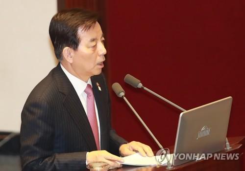 国会で答弁する韓長官=16日、ソウル(聯合ニュース)