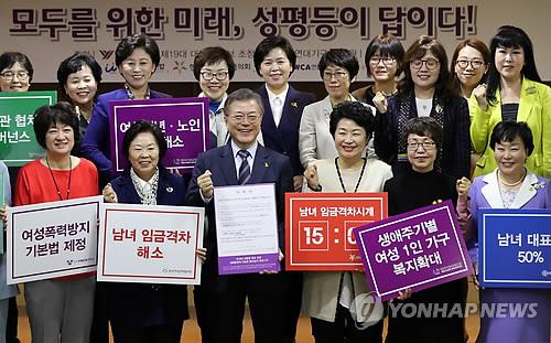 여성단체협의회 간담회 참석한 문재인