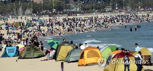 해운대 캠핑 여행[연합뉴스 자료사진]