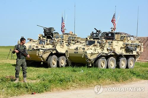 시리아 터키 접경의 미군 장갑차 (EPA=연합뉴스 자료 사진)