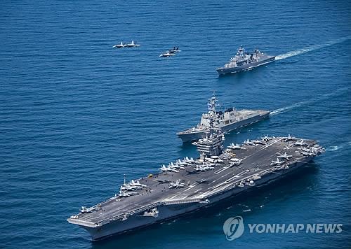 """资料图片:美国""""卡尔・文森""""号航空母舰(韩联社)"""