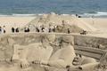 釜山のビーチに砂の彫刻