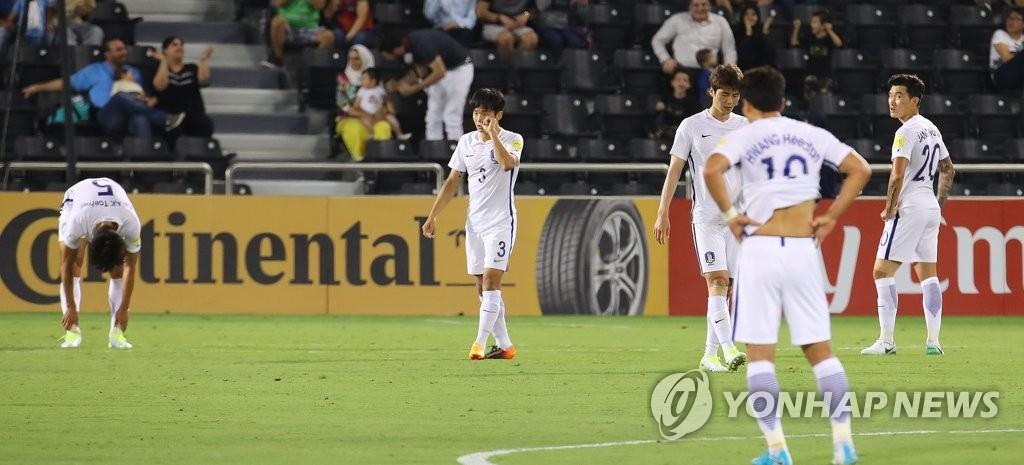 세 번째 실점 헌납, 고개 숙인 한국축구