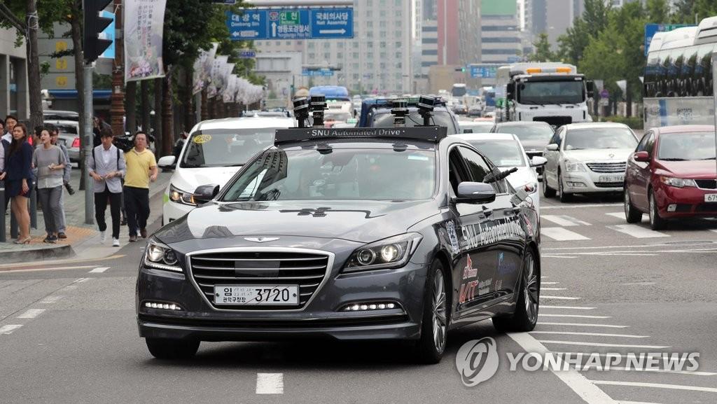 일반도로 주행하는 서울대 자율주행차