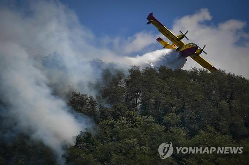 이탈리아서 화재 진압하는 살수비행기