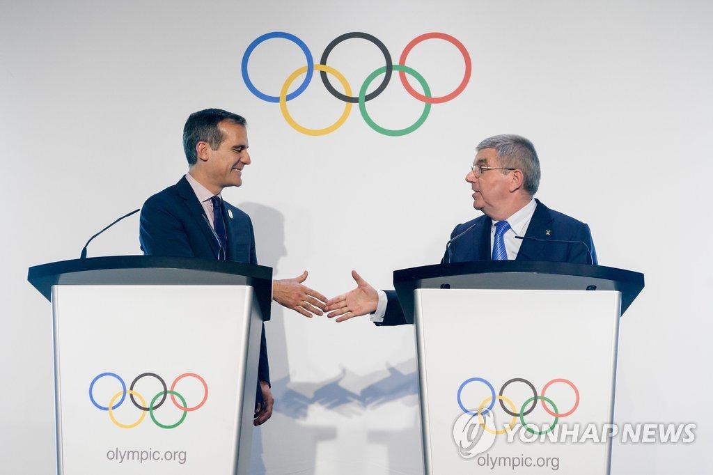 로스앤젤레스, 2028년 올림픽 유치 합의…파리는 2024년