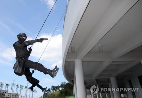 22日に五輪競技会場で行われた対テロ訓練の様子(資料写真)=(聯合ニュース)