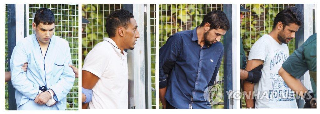 경찰에 체포된 스페인 테러 용의자들