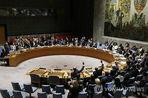 유엔 안보리가 대북제재 결의를 만장일치로 채택하는 모습