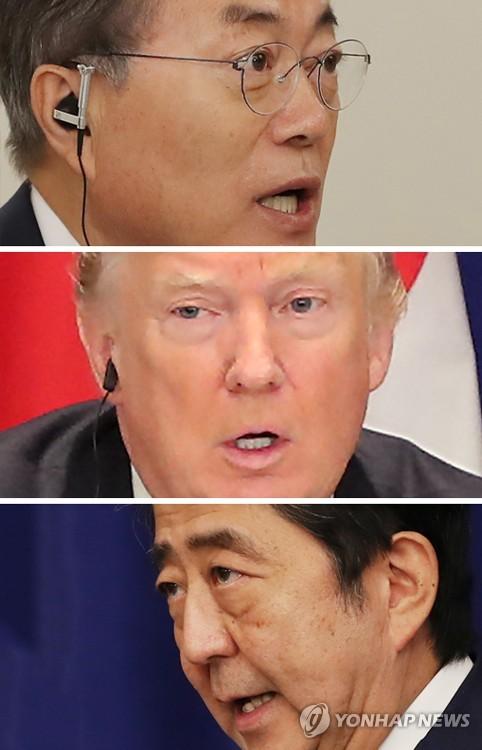 発言する韓米日首脳