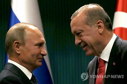 블라디미르 푸틴 러시아 대통령과 레제프 타이이프 에르도안 대통령 [AP=연합뉴스]