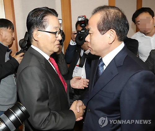 김이수 헌재 권한대행 박지원 의원과 악수