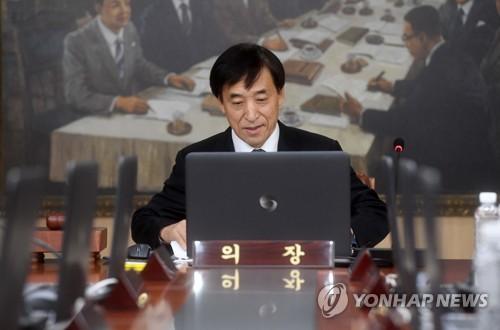 金融通貨委員会に出席した李柱烈総裁=19日、ソウル(聯合ニュース)