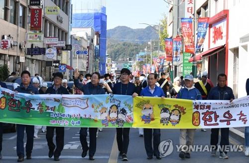 횡성한우축제 축하 퍼레이드 [연합뉴스 자료사진]