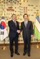 El presidente uzbeko y el presidente parlamentario surcoreano