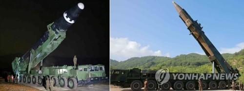 """左为""""火星-15""""型洲际弹道导弹,右为""""火星-14""""型洲际弹道导弹。图片仅限韩国国内使用,严禁转载复制。(韩联社/《劳动新闻》)"""