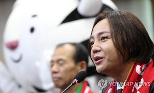 広報大使就任の感想を述べるチャンさん=8日、春川(聯合ニュース)