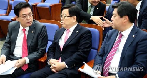 한국당 원내지도부 대화