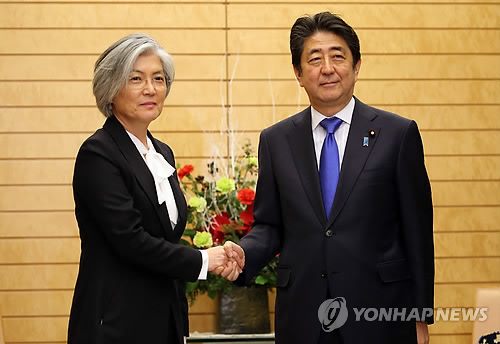 安倍首相と握手を交わす康長官=19日、東京(聯合ニュース)