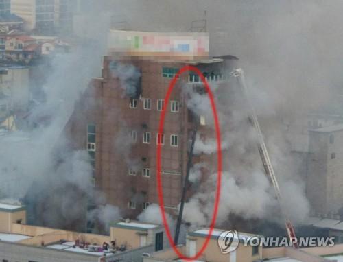 제천 화재현장에 투입된 민간 스카이차